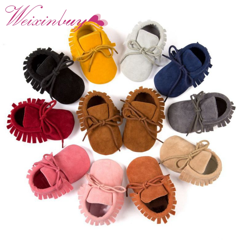 Boy Girl Soft Moccs Fringe Soft Soled Non-slip Footwear  Shoes PU Suede Leather Newborn Baby Moccasins QF sayoyo brand genuine cow leather baby moccasins snail toddler infant footwear soft soled baby boy shoes pre walker free shipping