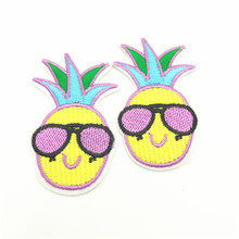 100pcs Wholesale Fruit Pineapple Parches Embroidered Iron on Patches for Clothing DIY Stripes Badges Patch