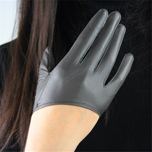 Genuine Leather Pure Sheepskin Half Palm Fashion Dark Grey European Version Tailoring Elegant Woman Gloves Unlined TB86 цена