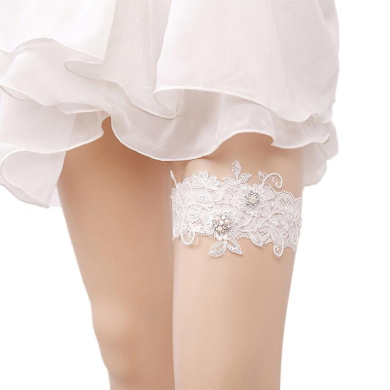 Sexy Women Bridal Garter Lace Floral Bow Pearl Wedding Party Bride Lingerie Cosplay Leg Garter Belt Suspender for Girl