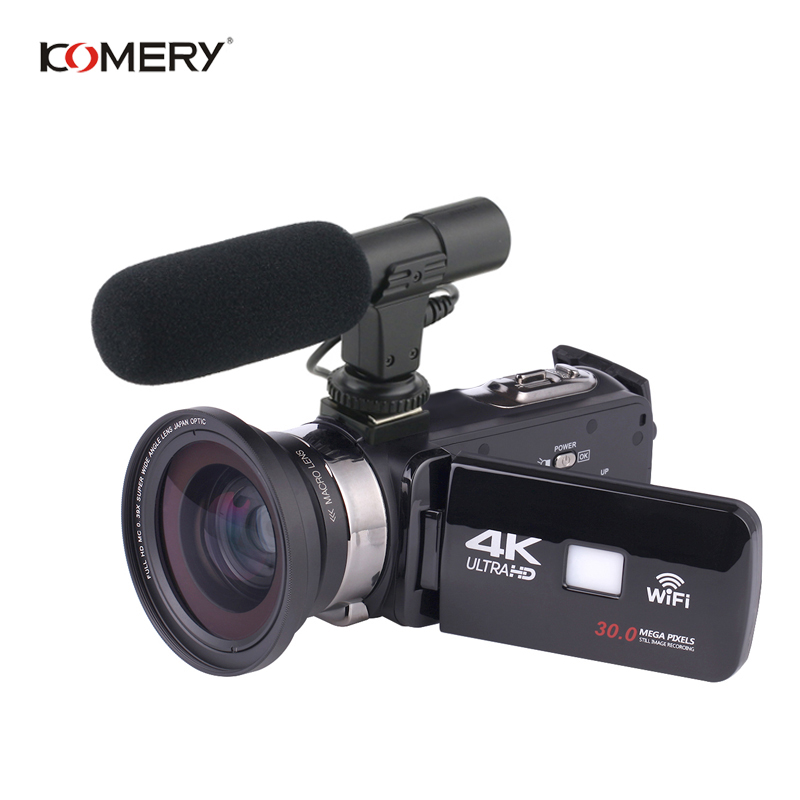 KOMERY Originale Video Camera 4 K Supporto Wifi di Visione Notturna LCD Da 3.0 Pollici Touch Screen Time-lapse Fotografia Tre -anno di GaranziaKOMERY Originale Video Camera 4 K Supporto Wifi di Visione Notturna LCD Da 3.0 Pollici Touch Screen Time-lapse Fotografia Tre -anno di Garanzia