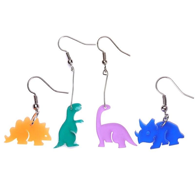 1Pair New 4 Style Personality Dinosaurs Earrings Punk Acrylic Long Earrings For Women