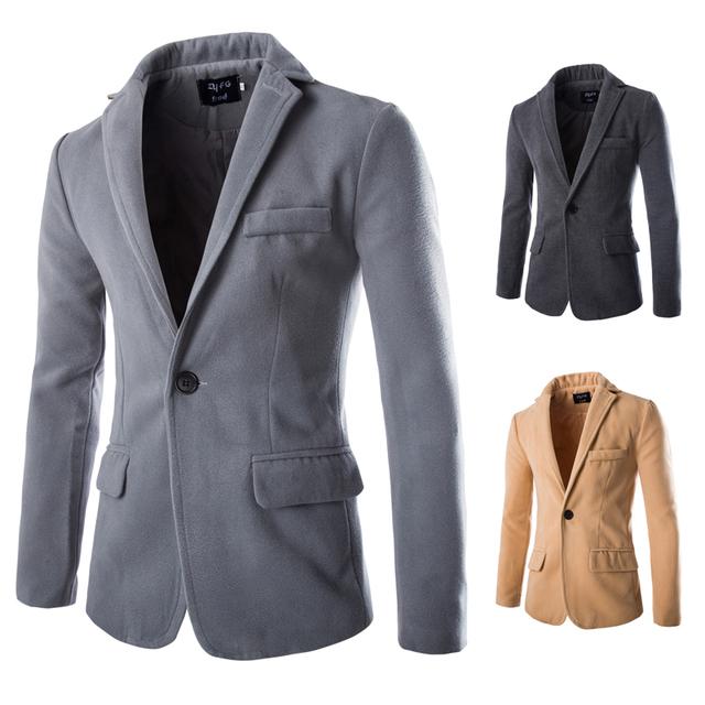 2015 Hot new Outono Inverno Moda Sólidos Homens De Lã Casacos Único botão Slim fit Mens Blazer Casaco Grosso dos homens Casuais 5 cores