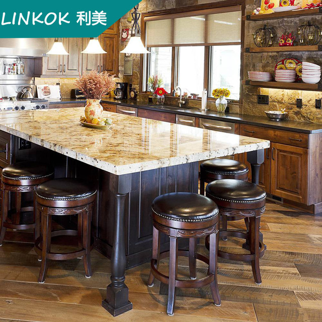 Linkok Furniture Wholesale Cheap China Blinds Factory Directly Solid Wood  Kitchen Cupboard For India Market