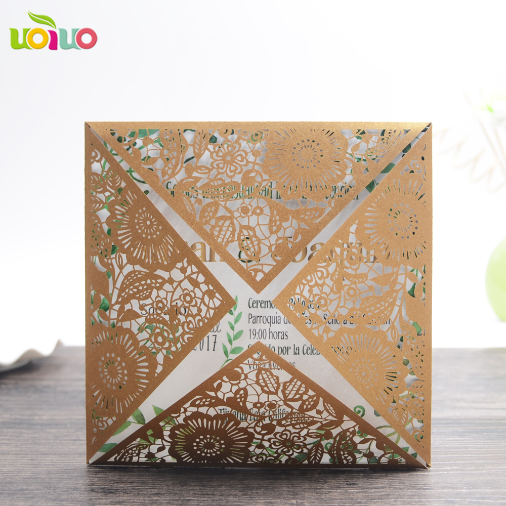 Unique design golden wedding invitations with flower lace, laser ...