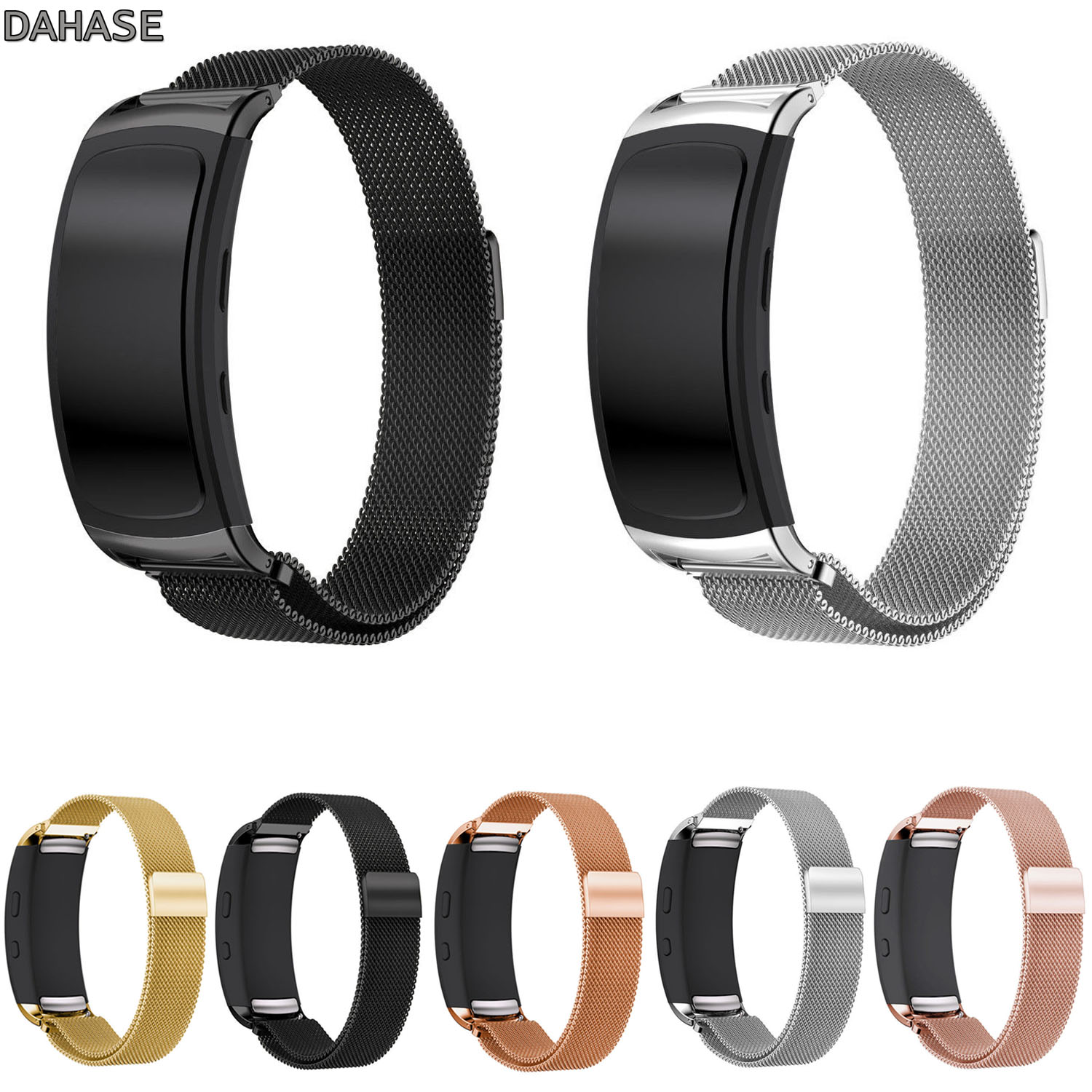 DAHASE Milanese Loop Watch Strap for Samsung Fit2 Pro Band Magnetic Clasp Stainless Steel Bracelet for Gear Fit2 SM-R360 Band 2017 new stainless steel bracelet strap watch band milanese magnetic with connector adapter for samsung gear s2 watch band