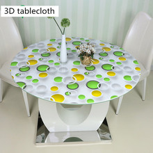 Waterproof Round tablecloth 3D pattern oil-proof non-slip pvc table mat Plastic soft glass no-clean table sheet Crystal plate europe luxury party tablecloth non slip waterproof table cloth oil proof pvc soft glass plastic table cover coffee table mat