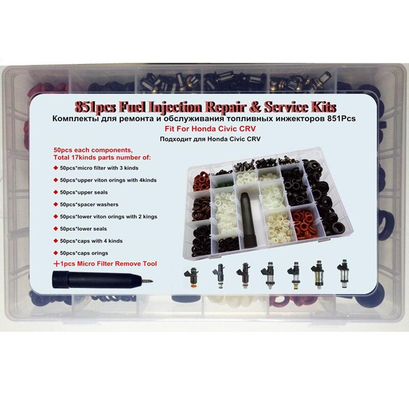851 pcs 17 sortes/boîte Injecteur de Carburant De Réparation Reconstruire Service Kit pour Honda Civic Accord CRV Pièces De Rechange Filtre Joint torique Joint Kits