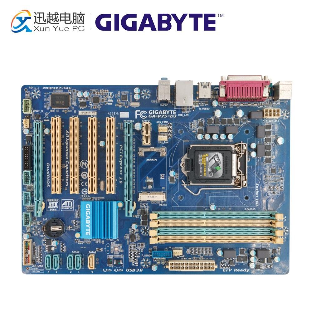 Gigabyte GA-P75-D3 Desktop Motherboard P75-D3 P75 Socket LGA 1155 i3 i5 i7 DDR3 ATX
