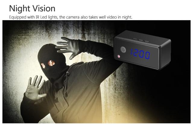 Wifi IP Clock Camera 720P HD H.264  Infrared Night Vision Table Clock Camera Motion Sensor Mini DV Camcorder With Alarm Function