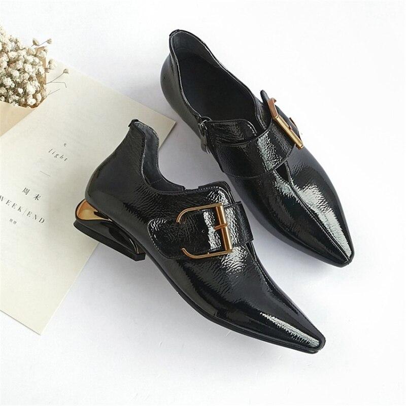 Tacón Señoras Zipper Cuadrado De Primavera Las Zapatos Charol Ouqinvshen Toe 2018 Negro Bombas Apuntado Mujer La Moda Ugc01Fqw