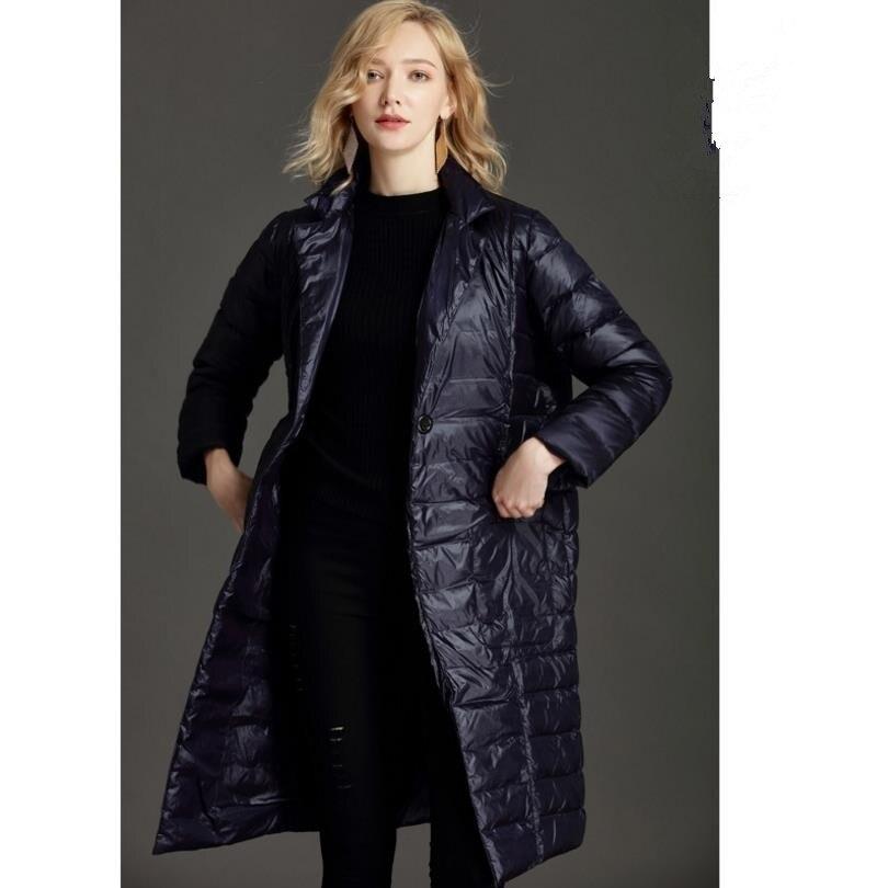 2018 hiver nouvelle mode femmes Mince 90% duvet de canard Blanc manteaux style de causalité solide pleine manches femme long down parkas manteaux gx1180