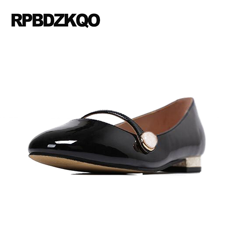 Brand Designer Shoes Women Luxury 2017 Japanese School Patent Leather Round Toe Flats Low Heel Nude Pearl Black Ladies Mary Jane barber chair swivel chair can put down can lift hairdressing chair the haircut chair beauty bed t 4106