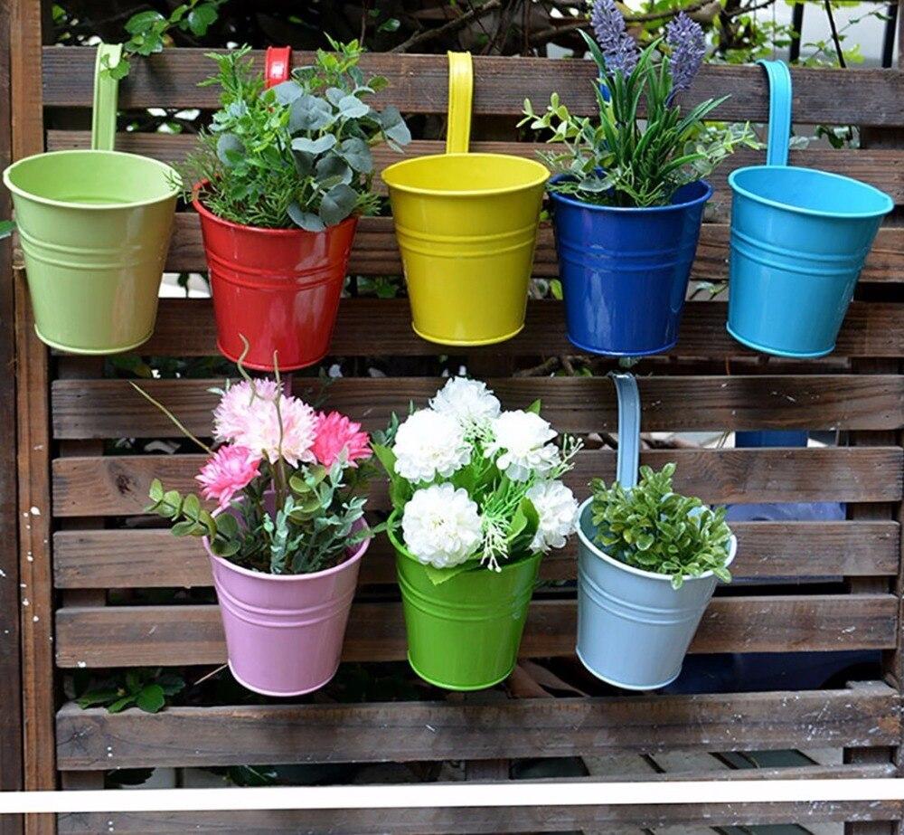 hanging portable flower pots garden balcony planters metal iron bucket flower holders with detachable hook home decor - Decorative Planters