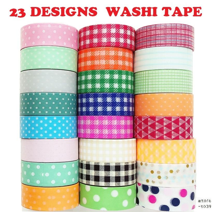 23Designs Stripe/Lace/Check/Basic Pattern Japanese Washi Tape Decorative Adhesive DIY Masking Paper Tape Sticker Memo Note Label