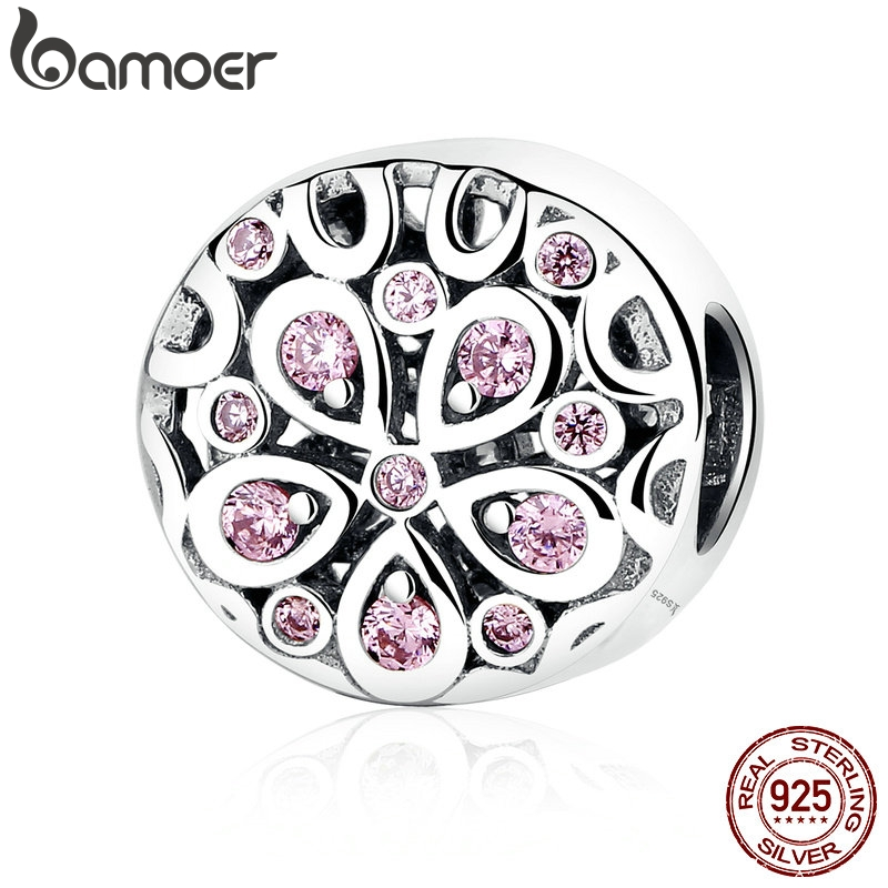 BAMOER Wholesale 100% 925 Sterling Silver Pink Crystals Flower Bead Charms fit Women Bracelets Beads & Jewelry Makings SCC053BAMOER Wholesale 100% 925 Sterling Silver Pink Crystals Flower Bead Charms fit Women Bracelets Beads & Jewelry Makings SCC053