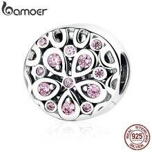 BAMOER toptan 100% 925 ayar gümüş pembe kristaller çiçekli boncuk Charms fit kadınlar bilezikler boncuk ve takı yapımı SCC053
