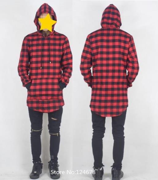 ... cool plaid hoodie men side zip hoodie hip hop swag clothes uk hip hop  hba skate ... f00519a7cda