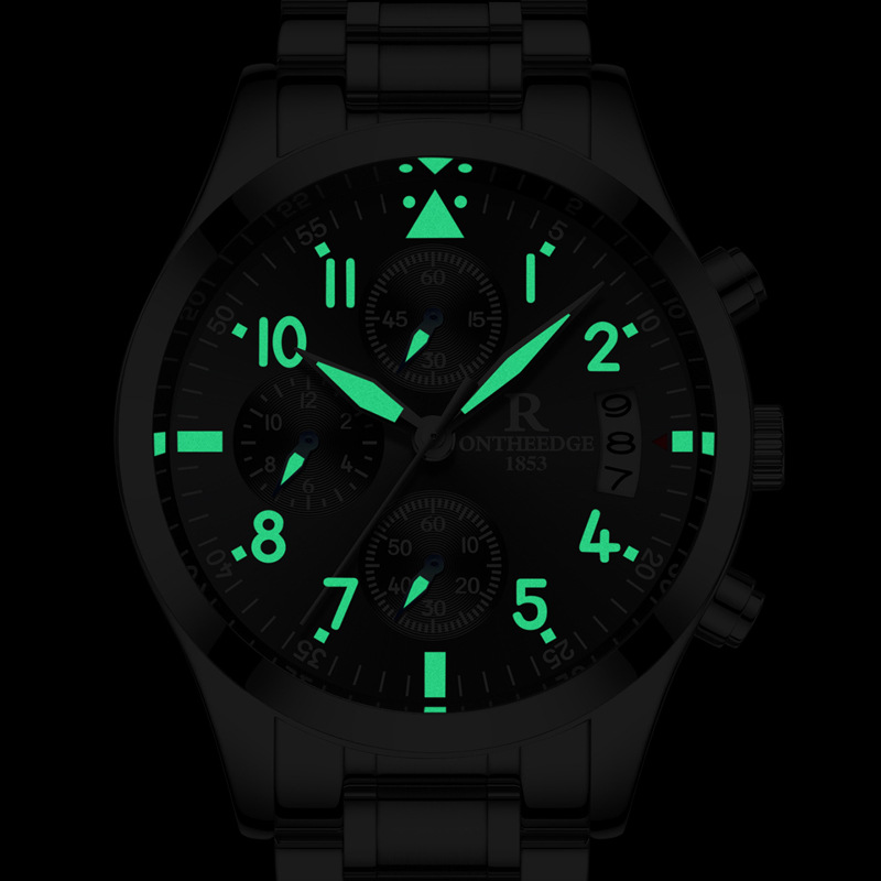 Dropshipping Hot Sports Luminous Quartz Watch Men Six Pointers multifunction Watches Stainless Steel Wristwatch small dial work skone 5051 luminous pointers quartz watch men rotatable bezel wristwatch