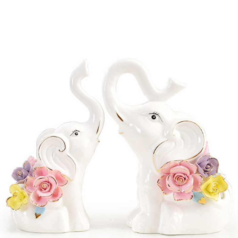 Creative Ceramic Lucky Elephant Decorative Ornaments Home Decoration Living Room Counter Desktop Ornaments Highend Business Gift-in Figurines & Miniatures from Home & Garden