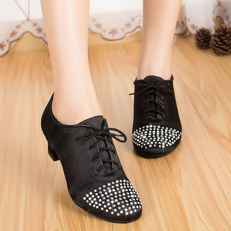 Latin Dance Shoes Diamond Female Adult Dance Shoes Dance Shoes Square Black Soft Outsole Latin Flat Shoes