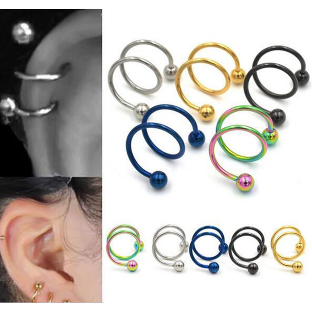 1 pair Hot sale Punk Stainless Steel Spiral Helix Ear Stud Lip Nose Ring Body Piercing Jewelry