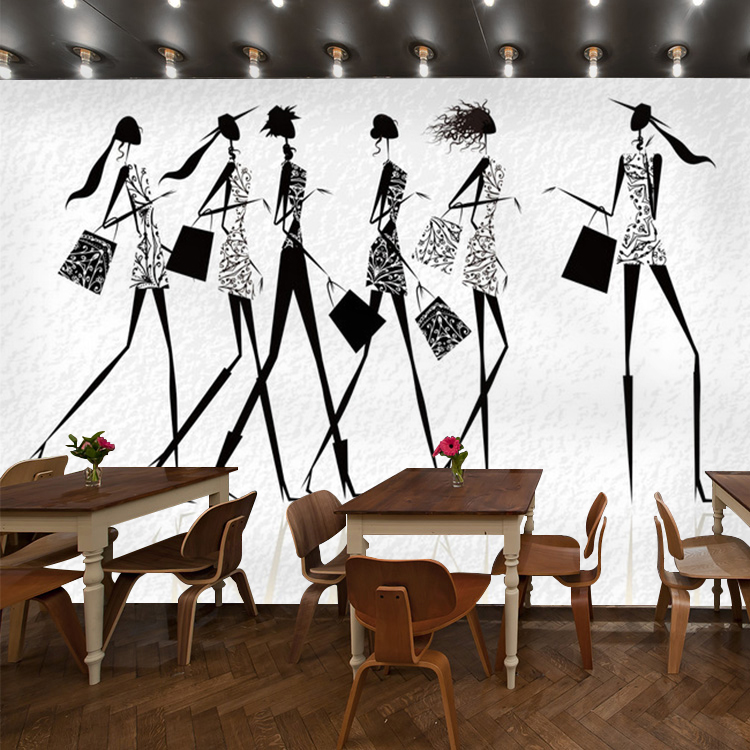 Art Wallpaper 3D fashion salon clothing store fashion women black and white mural wallpaper background  free shipping hepburn classic black and white photographs women s clothing store cafe background mural non woven wallpaper