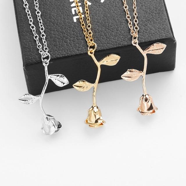 2018 New Pink Gold Rose Flower Statement Necklace Women Charm Maxi Choker Boho Valentine's Day Jewelry 1