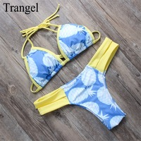 Trangel 2017 סקסי thong נשים בגדי ים הדפסה חדש מרופד ביקיני סט וינטג 'רטרו leopard בגד ים biquini brazilain bf004