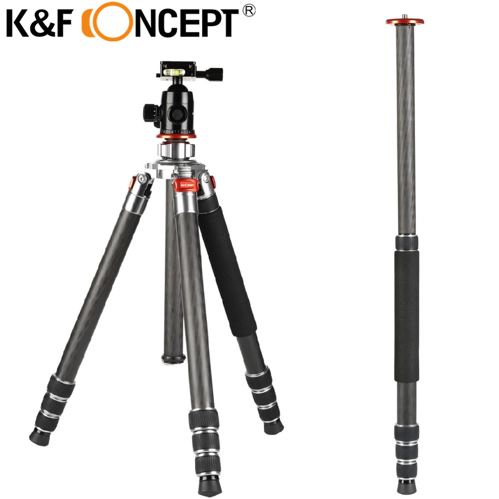 K&F CONCEPT KF-TC3134 Camera Tripod 8X Carbon Fiber 4-Sections Tripod With Ball Head Used Tube Lock For Canon Nikon Sony DSLR bexin 4 sections carbon fiber camera tripod ball head kits camera monopod head for canon nikon sony digital camera