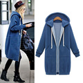 Autumn Winter Women Hooded Long Trench Fashion Solid Color Long Sleeve O-Neck Casual Zipper Sweatshirt Coat Outerwear WT0023-G