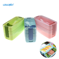 Brand LOULONG 3 Layers Microwave Bento Lunch Box With Spoon Plastic Launch Boxs for Kids Picnic Camping Food Container Box LB014