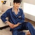 Длинные рукава людей шелковая пижама пижамы-наборы Loungewear весной пижамы пижама комплект Onesie ночное синий L-3XL