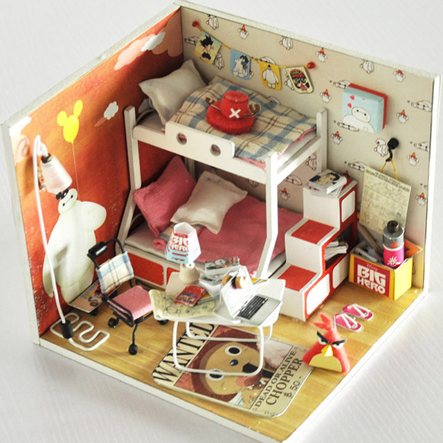 Diy Doll House With Furniture Led Light Miniature Wooden Dollhouse