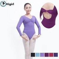 Free Shipping Basic Purple Ballet Leotard Long Sleeve Women Pinch Front Cotton Adult Practicing Ballerina Dance
