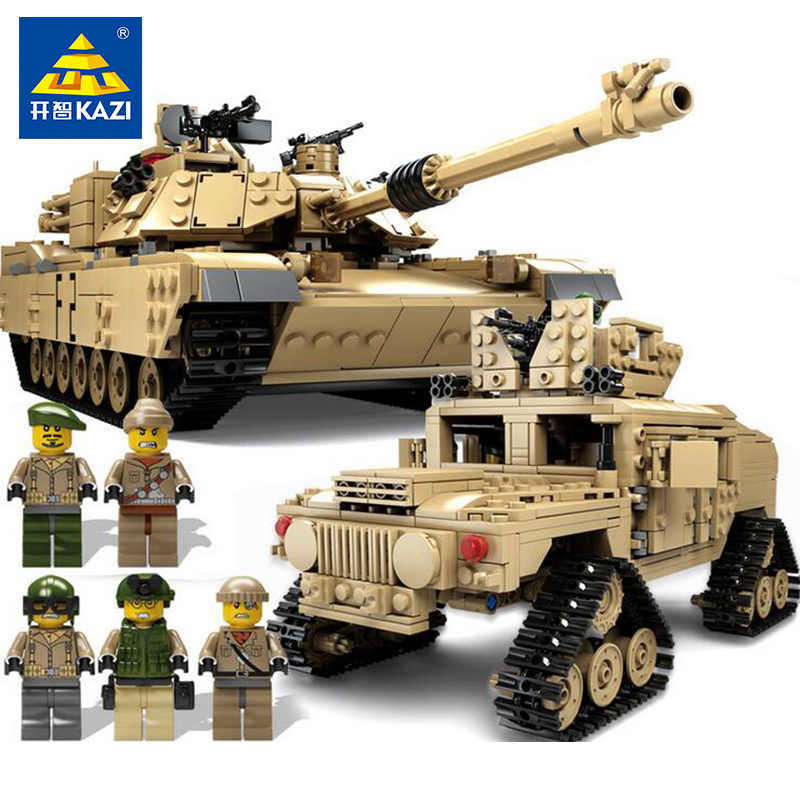 Kazi Military ABRAMS Tank Model Figures Weapon Building Blocks Compatible Legoed Technic Tanks Enlighten Toys For Children Gifts enlighten 1406 8 in 1 combat zones military army cars aircraft carrier weapon building blocks toys for children