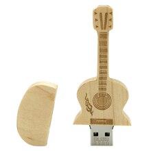 USB флэш-накопитель, деревянные памяти USB 2,0 Stick флэш-диск (32 ГБ, деревянный-гитара)