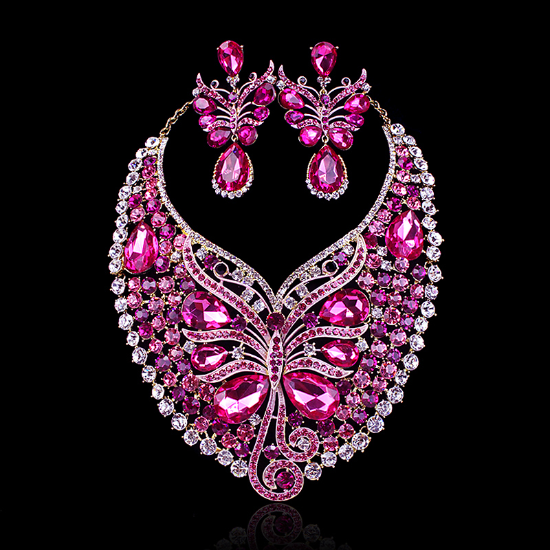 Hot sale pink butterfly crystal party jewelry set african for Pink wedding jewelry sets