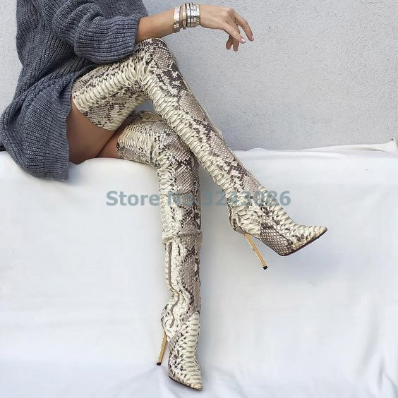White Black Faux Snakeskin Pointed Toe Long Boots Sexy Thin High Heel Over The Knee Boots Red Green Python Side Zipper Pumps pointed toe over the knee long boots apricot black gray faux suede thin high heel long boots sexy stretch fabric lady sock boots