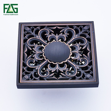 цена на FLG Floor Drain 10cm Square Black Brass Shower Drain Strainer Floor Cover Art Carved Balcony Bathroom Bath Accessories