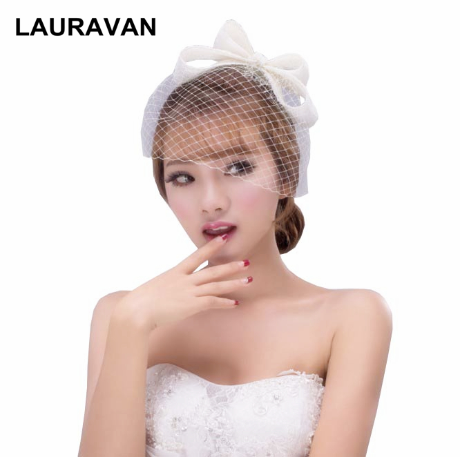 2020 New Beautiful Black Retro Evening Prom Party Costume Birdcage Bridal Bow Fascinator Bride Wedding Hats Face Veils Hot Sale
