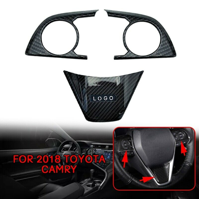 pcmos ABS Carbon Fiber Interior Steering Wheel Patch Cover Trim Fits For 2018 Toyota Camry Interior Accessories Steering Covers