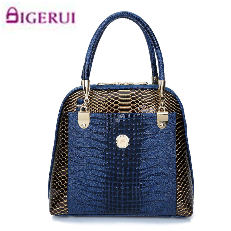 Women Handbag Patent Leather Crocodile Crossbody Bags Brand Tote Fashion Women Bags Clutch Shoulder Bag Bolsas A61 3pcs women crocodile faux leather fashion tote handbag shoulder bag clutch set