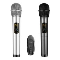 LESHP Dual Wireless Karaoke Microphone with Receiver Box Various Frequency Full Metal for Home KTV Education K18U