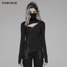 Панк рейв Женская Панк темная водолазка нерегулярная молния футболка уличная Женская Личность высокий воротник женские футболки топы