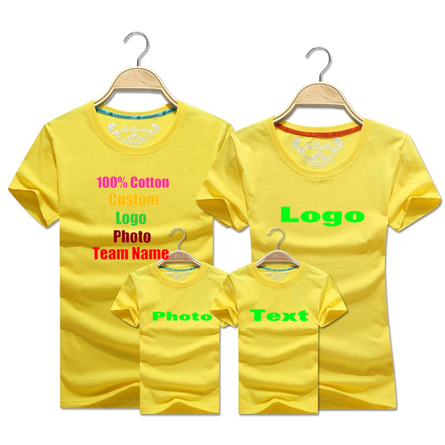 90d480d8f6 US $14.88 |Blank Solid Custom Logo Photo Text Printed Family T shirt Women  Men Dad Mom Kids Child Summer Team Shirts Party Boy Girl t shirt-in ...