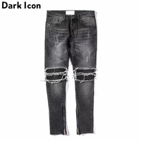 Pleated On Knee Men S Jeans 2018 High Street Motorcycle Denim Pants Men Full Length