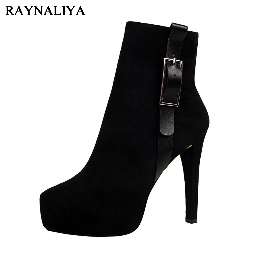 Ankle Boots Women Fashion Short Boots Pointed Toe Thin High Heels OL Shoes Suede Sexy Knight Boots Black Khaki 12CM DS-B0083 enmayla autumn winter chelsea ankle boots for women faux suede square toe high heels shoes woman chunky heels boots khaki black