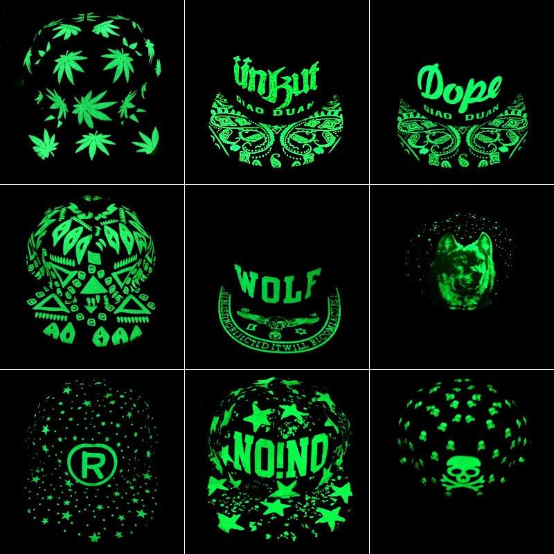 Men Women Fashion Fluorescence Light Baseball Cap Unisex Luminous Pattern Hip Hop Caps Boys Girls Polo Snapback Sport Hat CP0009 (2)