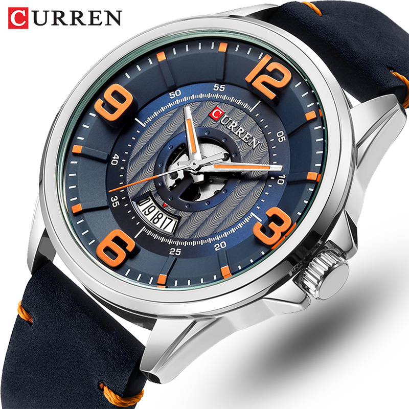 New CURREN Luxury Brand Men Fashion Sport Watch Mens Leather Waterproof Quartz Wrist Watches Male Date Clock Relogio Masculino